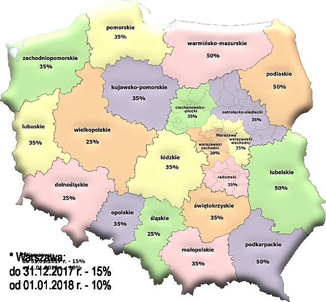 mapa pomocy regionalnej w ramach dofinansowania z wniosków unijnych